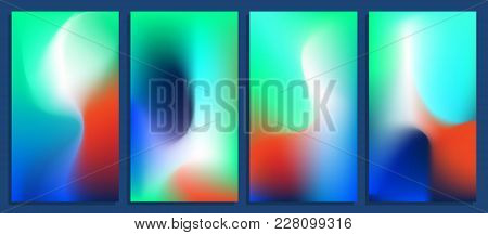 Vivid Blurred Holographic Gradient Backgrounds, Vector Colorful Posters