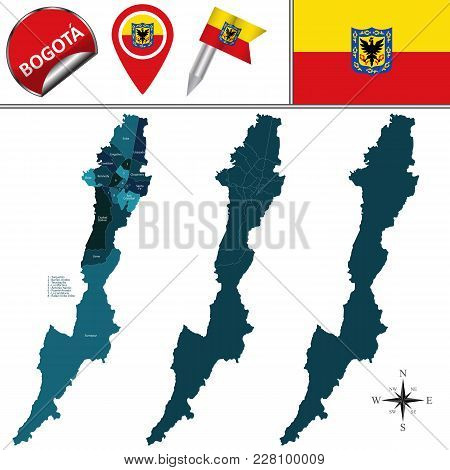 Vector Map Of Bogota With Named Subdivision And Travel Icons.