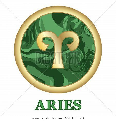 Aries Zodiac Sign Icon Isolated. Astrology And Horoscope Graphic Design Element. Golden Symbol On Ma