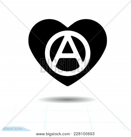 Heart Vector Black Icon, Love Symbol. The Anarchy Sign In Heart. Valentines Day Sign, Emblem, Flat S