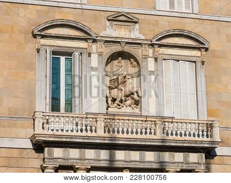 Saint George With Dragon Sculpture. Balcony Of The Generalitat Palace Of Catalonia In Barcelona, Spa