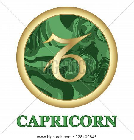 Capricorn Zodiac Sign Icon Isolated. Astrology And Horoscope Graphic Design Element. Golden Symbol O