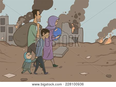 Family Of Refugees With Two Children On Destroyed Buildings Background. Immigration Religion And Soc