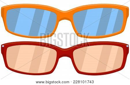 Cartoon Icon Poster Sport Glasses, Spectacles Red Orange Set. Fashion Vector Illustration For Gift C