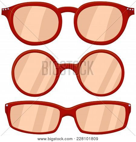 Cartoon Icon Poster Woman Red Glasses, Spectacles Set. Fashion Vector Illustration For Gift Card Cer