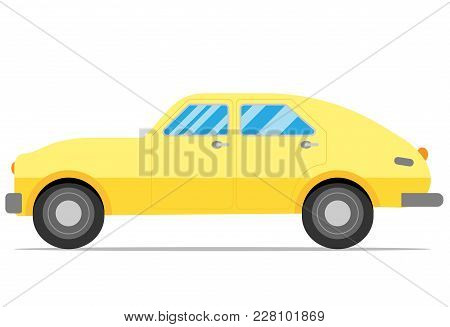 Old Yellow Hatchback, Retro Style Flat Car
