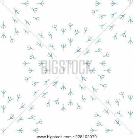 Foot Print Of A Chicken. Seamless Pattern Background. Blue And White Color Vector Illustration.