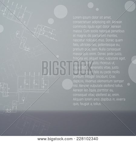 Installing A Water Heating System. Boiler Room Vector Illustration. The Banner Is Gray. An Engineeri