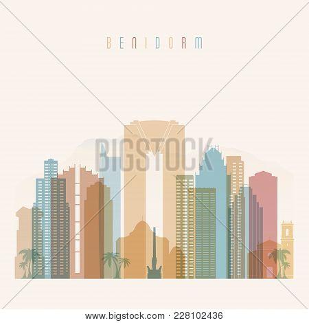 Benidorm Skyline Detailed Silhouette. Transparent Style. Trendy Vector Illustration.