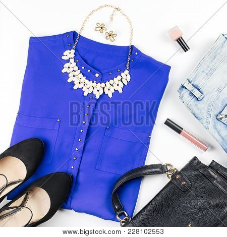 Female Smart Casual Style Clothing And Accessories -purple Shirt, Black Purse, Fashion Accessories,