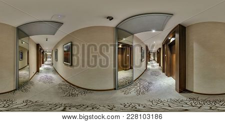 Minsk, Belarus - July 25, 2014: 360 Panorama In Interior Of Corridor Hall Of Elite Hotel With Many D