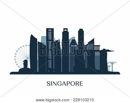 Singapore Skyline, Monochrome Silhouette. Design Vector Illustration.
