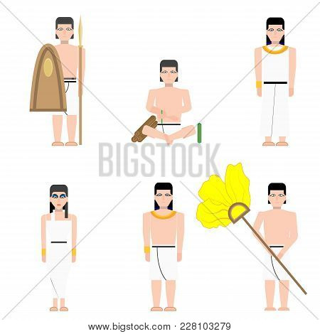 Ancient Egypt Rich With His Wife And Servants In Flat Style Ancient Egypt Builders At Work Illustrat