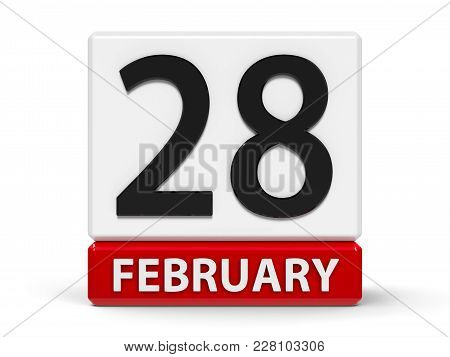 Red And White Calendar Icon From Cubes - The Twenty Eighth Of February - On A White Table, Three-dim