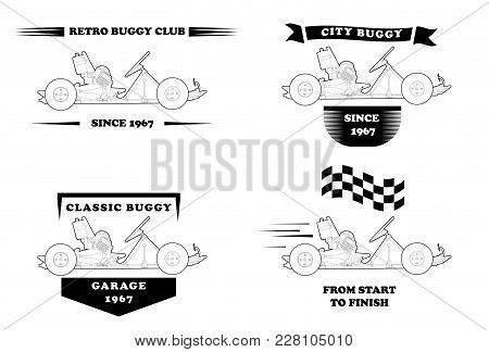 Retro Logo With Small Buggy In Flat Style