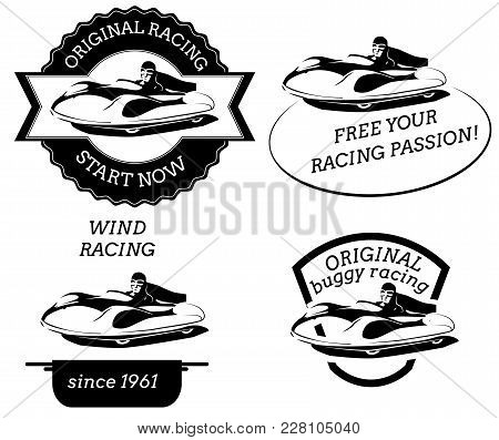 Retro Logo With Buggy Pilot In Flat Style