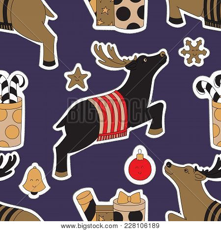 Doodle Stickers For Christmas Vector Illustration. The Gifts And The Reindeer. Blue Seamless Pattern