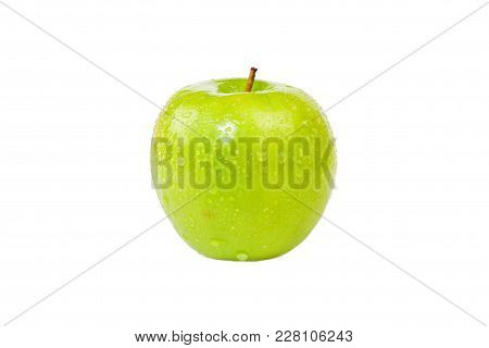 Juicy Washed Green Apple On Isolated Background, Granny Smith Apple