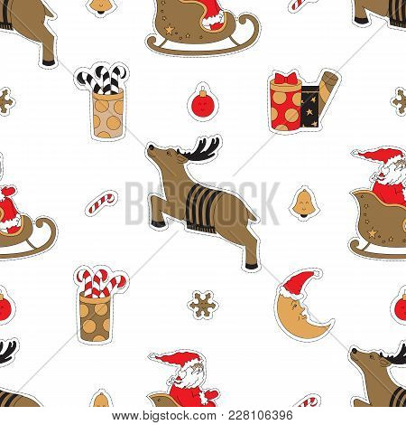 Fabric Decoration For Christmas. Santa Claus, Deer, Gifts And Moon Vector Illustration. Seamless Pat