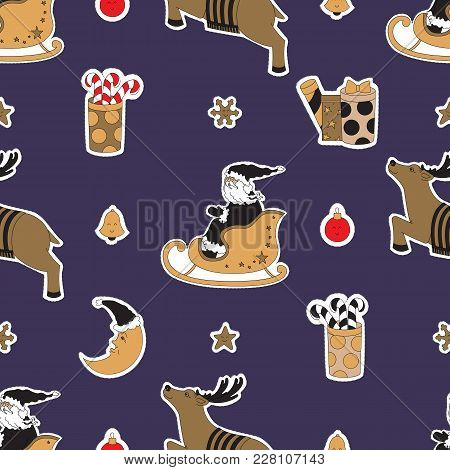 Textile Sky For Christmas. Santa Claus, Reindeer, Gifts, Candy And Moon Vector Illustration. Seamles