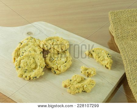 Delicious Oatmeal  Cookies On The Wooden Table.
