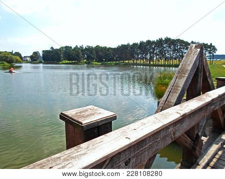 Lake Next To The Medieval Castle In A Summer Day, Mir, Belarus