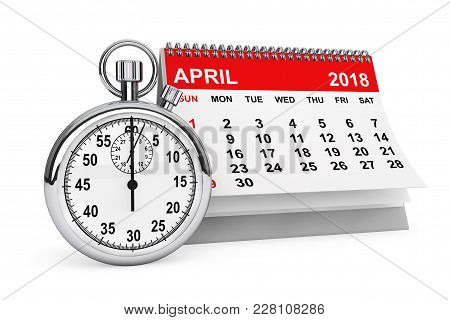 2018 Year Calendar. April Calendar With Stopwatch On A White Background. 3d Rendering