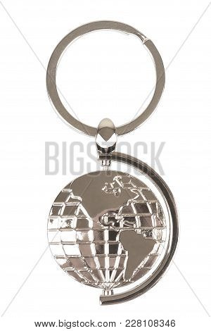 Metal Keychain As Earth Globe On A White Background. 3d Rendering