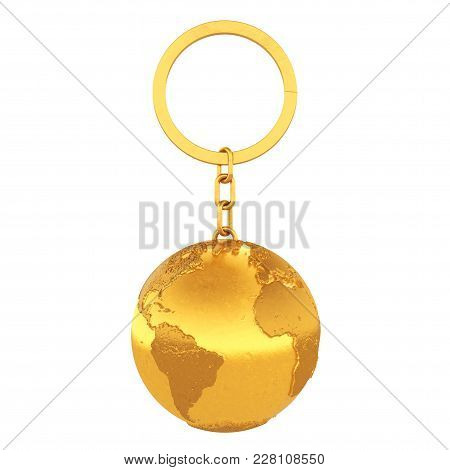 Golden Keychain As Earth Globe On A White Background. 3d Rendering