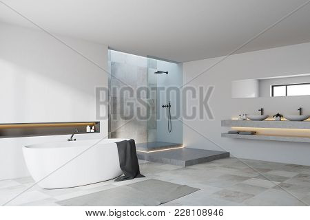 White And Tiled Bathroom Corner With A White Tiled Floor, A Tub And A Shower With A Double Sink. 3d