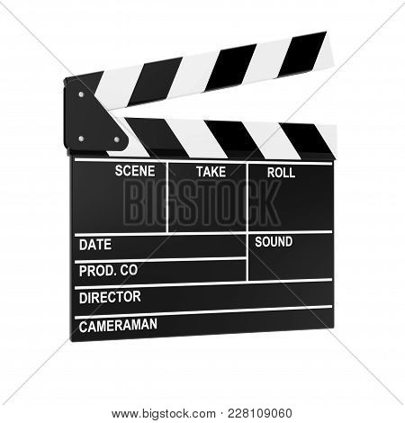 Cinema Movie Clapper Or Clapboard On A White Background. 3d Rendering