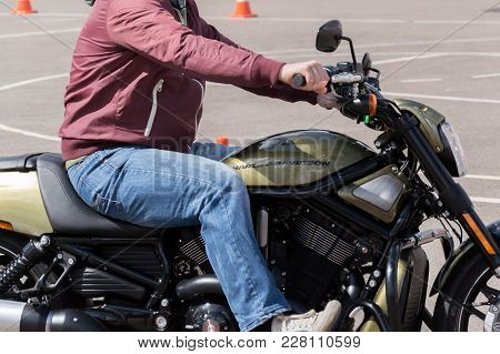 Minsk, Belarus - April 24, 2016 Hog. Harley Owners Group Opening Driving Season Show. Man Riding Bra