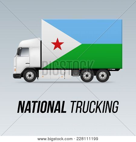 Symbol Of National Delivery Truck With Flag Of Djibouti. National Trucking Icon And Djiboutian Flag