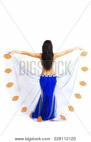 The Oriental Dancer Turned Her Back And Straightened Her Skirt. Transparent Beautiful Skirt At The Y