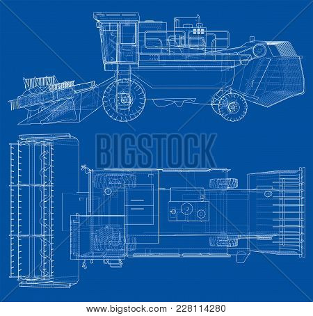 Concept Combine-harvester. Vector Rendering Of 3d. Wire-frame Style. The Layers Of Visible And Invis