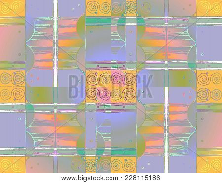 Abstract Geometric Background Multicolored. Intricate Spirals Pattern With Wavy Lines Yellow, Purple