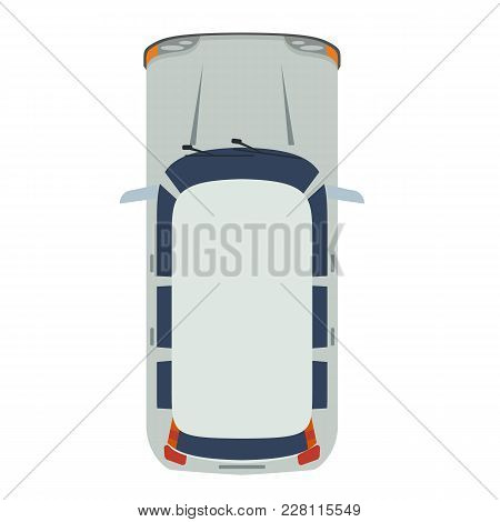 Hatchback Car Top View. Realistic And Flat Color Style Design Vector. Illustrated Vector.