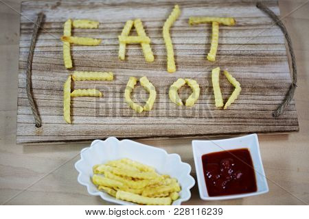 Fast Food, Written With French Fries, Written, Word, Words, Written