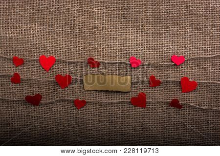 Love Concept With Note Paper Heart Icons On Threads