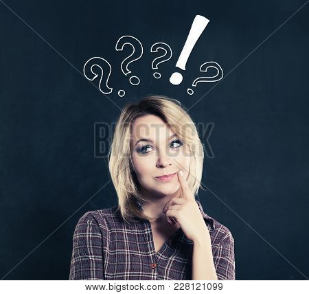 Casual Thinking Woman With Doubt And Choice Sign