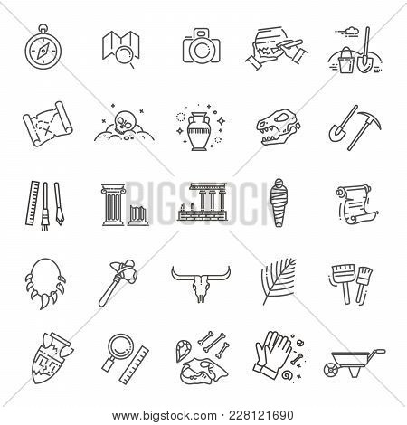 Outline Black Icons Set In Thin Modern Design Style, Flat Line Stroke Vector Symbols - Archeology Co