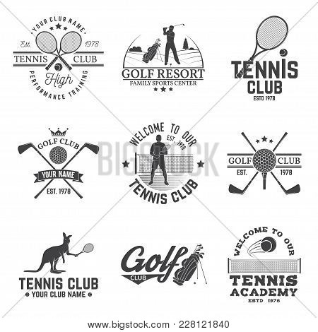 Set Of Golf Club, Tennis Club Concept With Golfer And Tennis Player Silhouette. Vector Golfing And T