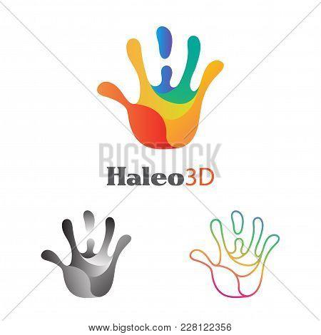 Hand 5 Fingers Spiral Vector Print. Clipart, Symbol, Concept. Ideas Of Unity, Peace, Hi, Hello Gestu