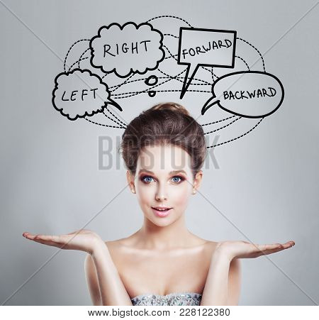 Woman With Doubt And Choice Concept. Planning And Strategy Concept