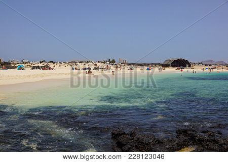 View On Famous Beach Playa De Jandia - Playa De Sotavento - Playa Lagoon On The Canary Island Fuerte