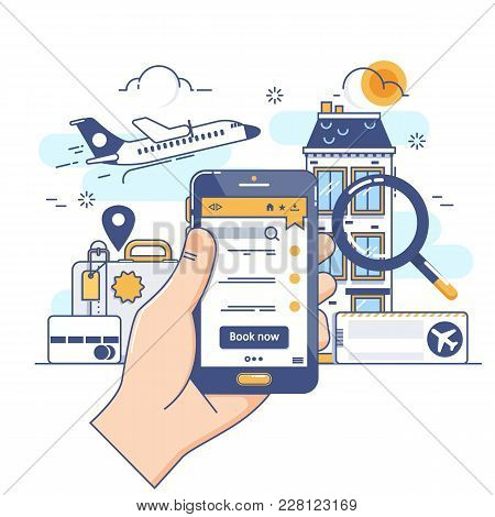 Summer Holiday Vacation Booking Online Concept.online Booking Design Concept For Mobile Phone Hotel,