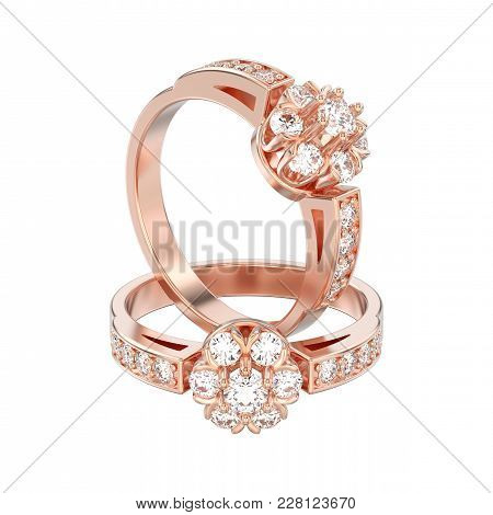 3d Illustration Isolated Two Rose Gold Decorative Flower Diamond Rings On A White Background