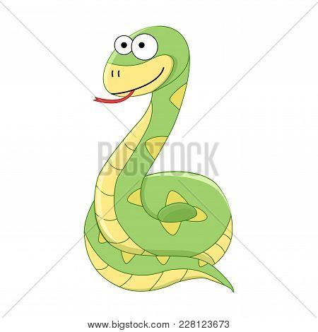 Cute Funny Cartoon Snake. Vector Illustration. Cartoon Reptile. Vector Reptile Isolated On White Bac