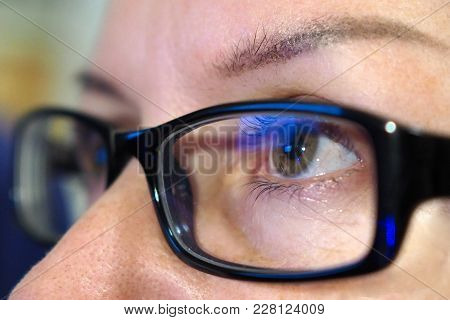 Eyes With Glasses. Eye Look At The Rim Closely.