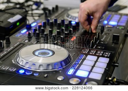 Dj Mixes Music At A Party. Musical Equipment Sound For Professional Djs.